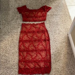 Red lace crop top and skirt